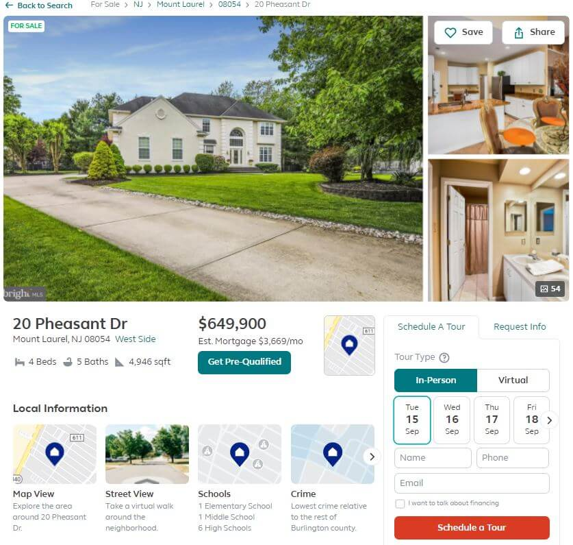 Trulia's opt-in form for scheduling a guided tour