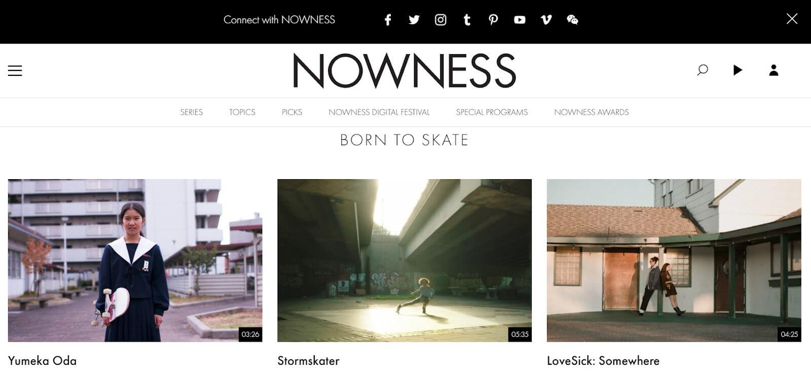Nowness Website Homepage