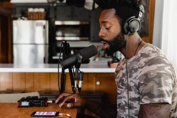 Man Podcasting- Recording