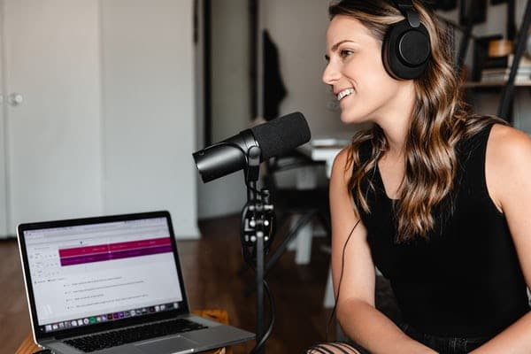 Woman Podcasting